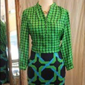 Elizabeth McKay Brooker Blouse Tulip Print Green 6